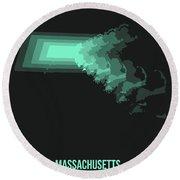 Map Of Massachusetts 3 Round Beach Towel