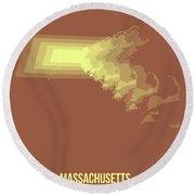 Map Of Massachusetts Round Beach Towel