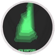 Map Of New Hampshire Green Round Beach Towel