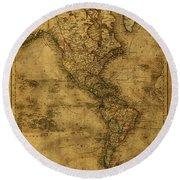 Map Of North America 1843 Round Beach Towel