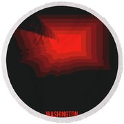 Map Of Washington Red Round Beach Towel