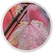 Maple Leaf Abstract Round Beach Towel