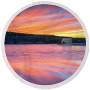 March Sunset At The Old Stone Church Round Beach Towel