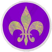 Mardi Gras Party Fleur De Lis Round Beach Towel
