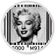Marilyn Barcode 6000 Upc Halftone Dots Round Beach Towel