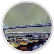 Marina Lights Round Beach Towel