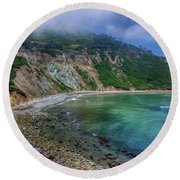 Marine Layer Over Bluff Cove Round Beach Towel