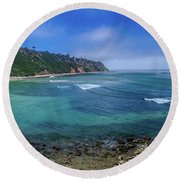Marine Layer Over Bluff Cove Panorama Round Beach Towel