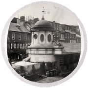 Market Sheds, Philadelphia, Ca. Late 1850s Round Beach Towel