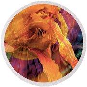 Round Beach Towel featuring the digital art Marmalade Bloom by Cindy Greenstein