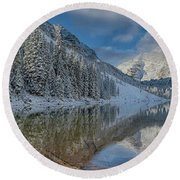 Round Beach Towel featuring the photograph Maroon Bells Reflection In The Maroon Lake With Fresh Snow Aspen Colorado Usa. by OLena Art Brand