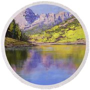 Maroon Bells Reflections Round Beach Towel