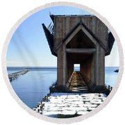 Marquette Ore Dock Cathedral Round Beach Towel