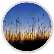 Marsh Grass Silhouette  Round Beach Towel