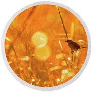 Marsh Sparrow Round Beach Towel