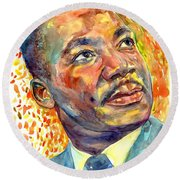Martin Luther King Jr Portrait Round Beach Towel