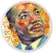 Martin Luther King Jr Portrait Round Beach Towel