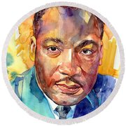Martin Luther King Jr Watercolor Round Beach Towel