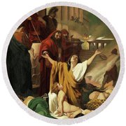 Martyrdom Of The Seven Maccabees Round Beach Towel