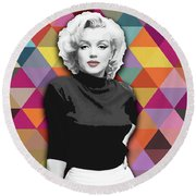 Round Beach Towel featuring the painting Marylin Monroe Diamonds by Carla Bank