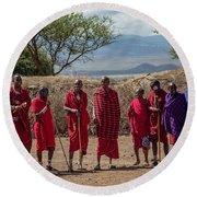Maasai Men Round Beach Towel