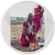 Maasai Warrior Round Beach Towel