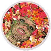 Mask Freckles And Flowers Round Beach Towel