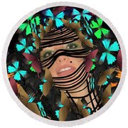 Mask Of Butterflies And Bondage Round Beach Towel