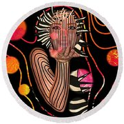 Mask Of The Sea Round Beach Towel