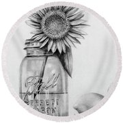 Mason Jar And Sunshine Round Beach Towel