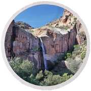 Massacre Trail Waterfall Round Beach Towel