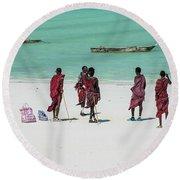 Massai At The Beach Round Beach Towel