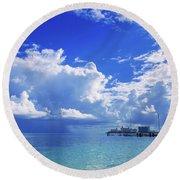 Massive Caribbean Clouds Round Beach Towel