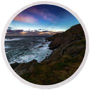massive storm near Nyksund Round Beach Towel