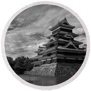Matsumoto Castle Japan Black And White Round Beach Towel