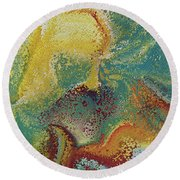 Round Beach Towel featuring the painting Matthew 11 28. Come To Me by Mark Lawrence