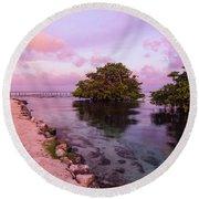 Mayan Sea Reflection Round Beach Towel