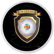 Mcclure Family Crest Round Beach Towel