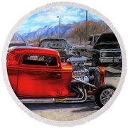 Mean Orange Hot Rod Round Beach Towel