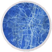 Medellin Colombia City Street Map Blueprints Round Beach Towel
