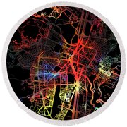 Medellin Colombia Watercolor City Street Map Dark Mode Round Beach Towel