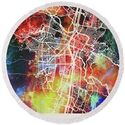 Medellin Colombia Watercolor City Street Map Round Beach Towel