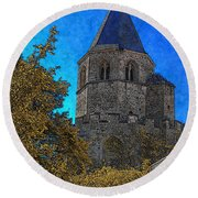 Medieval Bell Tower 3 Round Beach Towel