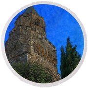Medieval Bell Tower 5 Round Beach Towel