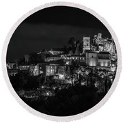 Medieval Village Of Eze, Provence - Black And White - Series 1 Of 16 Round Beach Towel