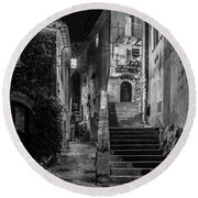 Medieval Village Of Eze, Provence - Black And White - Series 10 Of 16 Round Beach Towel