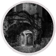 Medieval Village Of Eze, Provence - Black And White - Series 11 Of 16 Round Beach Towel