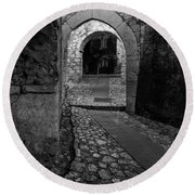 Medieval Village Of Eze, Provence - Black And White - Series 12 Of 16 Round Beach Towel