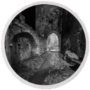 Medieval Village Of Eze, Provence - Black And White - Series 13 Of 16 Round Beach Towel