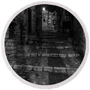 Medieval Village Of Eze, Provence - Black And White - Series 14 Of 16 Round Beach Towel